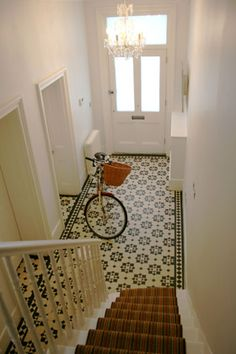 Tiles with stair runner. Hall Tiles, Tiled Hallway, House Entrance, Entrance Hall, Victorian Hallway, Hall Flooring, Interior Decorating, Interior Design, Interior Exterior