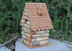 Pico casa birdhouse vino corcho arte