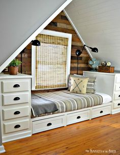 Built-in Bed Using Kitchen Cabinets. Make this cozy built-in bed with stock kitchen cabinets. Add trundle drawers for more storage. Attic Rooms, Attic Spaces, Small Spaces, Attic Bedroom Small, Small Rooms, Attic Apartment, Open Spaces, Storage For Small Bedrooms, Attic Bedroom Ideas Angled Ceilings