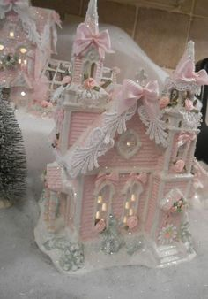 shabby pink victorian christmas village church house chic roses glitter in Collectibles, Holiday & Seasonal, Christmas: Current Villages & Houses Pink Christmas Tree, Shabby Chic Christmas, Noel Christmas, Victorian Christmas, Vintage Christmas, Christmas Crafts, Christmas Decorations, Christmas Ornaments, Christmas Mantles