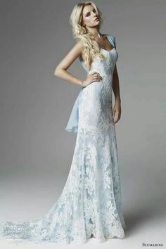 Blumarine Sposa Bergamo 'Something blue' lace embroidered gown. Formal or wedding evening dress.