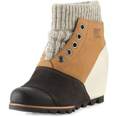 Sorel Joanie& Sweater Wedge Bootie ($230) ❤ liked on Polyvore featuring shoes, boots, ankle booties, elk, hidden wedge boots, waterproof booties, slip on boots, hidden wedge booties and bootie boots