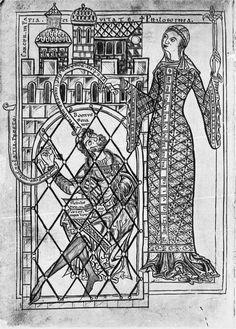 Philosophia, from a 12th century CE German manuscript.German, 12th Century (fitted patterned coat)