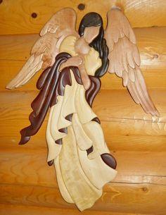 Angel Intarsia Wood Art - Wood Decor - Wall Hanging - NEW Intarsia Wood Patterns, Wood Carving Patterns, Woodworking Furniture Plans, Woodworking Patterns, Diy Woodworking, Intarsia Woodworking, Scroll Saw Patterns, Wooden Art, Wooden Signs