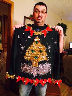 Vacation: Christmas Selfmade Ugly Christmas Sweater All Pure, Chemical Free At Residence Dry Cleansi Homemade Ugly Christmas Sweater, Tacky Christmas Sweater, Funny Christmas Sweaters, Christmas Jumpers, Christmas Shirts, Xmas Sweaters, Ugly Sweater Contest, Ugly Sweater Party, Pulls