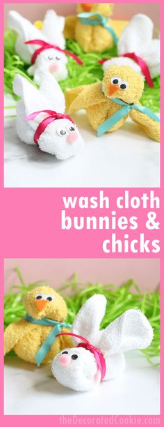 How to make EASY wash cloth bunnies and chicks, a perfect addition to an Easter basket or baby shower gift! #EasterBasket #BabyShowerGifts #WashclothAnimals