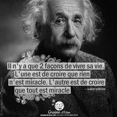 Best Inspirational Quotes, Best Quotes, Citation Einstein, Albert Einstien, French Language Lessons, Motivational Phrases, Sweet Words, Miracle, Slogan