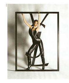Christy Turlington  for Yves Saint Laurent   Fetish Leather catsuit