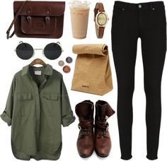 """Army green"" by hanaglatison ❤ liked on Polyvore"