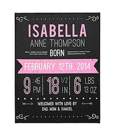 Custom Chalkboard Baby Announcement Wall Art   Customize This Wooden Sign  With Announcement Details Such As