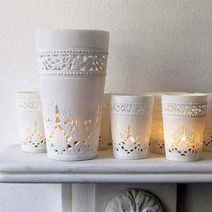 beautiful white ceramic photophores