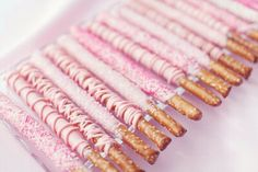 Pink chocolate covered pretzels