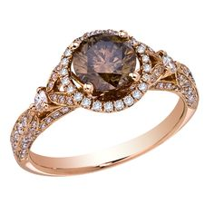 View 14K Rose Gold Brown Diamond Ring #SkaneatelesJewelry #Skaneateles #WhereCNYgetsENGAGED