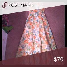 Vintage Orange floral maxi Vintage lined orange floral maxi with tie back Dresses Maxi
