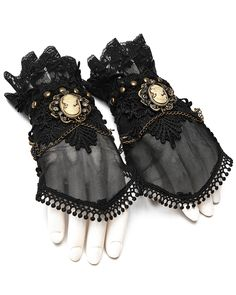 Black Beaded Lace Gothic Theatrical Gloves