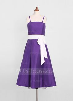 A-Line/Princess Tea-Length Taffeta Junior Bridesmaid Dress With Sash Bow(s) (009022499)