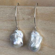 Baroque-pearl-silver-earrin Baroque Pearl Necklace, Baroque Pearls, Pearl Bracelet, Pearl Jewelry, Silver Jewelry, Pearl Earrings, Drop Earrings, Silver Pearls, Sterling Silver Earrings