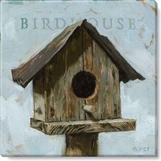 Darren Gygi Home Collection 'Birdhouse' Wrapped Canvas Canvas Art Prints, Canvas Wall Art, Canvas Paintings, Canvas Canvas, Pumpkin Canvas, Bird Houses Painted, Kids Art Class, Valentines Art, Bird Theme