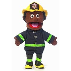 "Silly Puppets 14"" Black Fireman Glove Puppet SP3302B         Great for beginners of all ages, Glove Puppets are easy to use so you can perfect your puppeteer skills for future shows. Each puppet is constructed of soft plush material and features cute characteristics. Just slip your hand through the bottom opening and your new friend will come alive with personality. The friendly Fireman Glove Puppet will save a cat from a tree in a snap with his official fireman… $19.89"