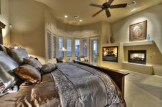 Spacious master bedroom suite with sitting area and fireplace.  Scottsdale, Arizona