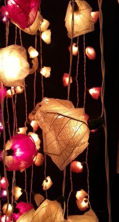 20 x white and pink romantic rose flower garland light decoration indoor living room bedroom hanging lantern decor