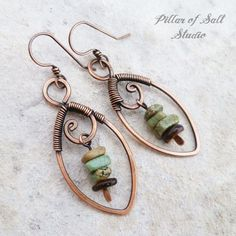 copper wire wrapped leaf earrings by Pillar of Salt Studio #JewelryTips