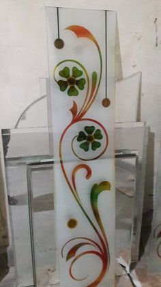 Glass Painting Designs, Paint Designs, Rangoli Side Designs, Window Glass Design, Glass Corner Shelves, Pooja Room Door Design, Wall Painting Decor, Stained Glass Panels, Floral Illustrations