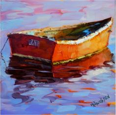 Reflections of a Rat Boat , 6x6, oil on board, paintings of rat boats, dory, old boats, wooden boats, rockport, Massachusetts, Bearskin Neck, colorist art, impressionism, painting by artist Maryanne Jacobsen