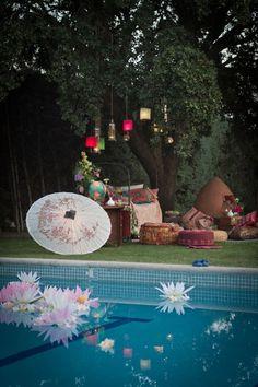 Traditional poolside glam gets taken up a notch with beautiful jewel | The Boho Dance: Beautifully Bohemian Wedding Decor | POPSUGAR Home