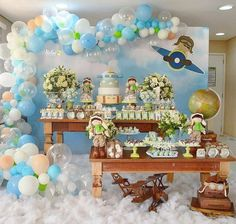 Image may contain: 1 person Planes Birthday, 1st Boy Birthday, 1st Birthday Parties, Baby Shower Printables, Baby Shower Themes, Baby Boy Shower, Airplane Baby Shower, Airplane Party, Balloon Decorations