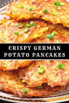 Crispy German Potato Pancakes – Food Recipes - New Site Veggie Recipes, Appetizer Recipes, Vegetarian Recipes, Dinner Recipes, Cooking Recipes, German Food Recipes, Vegetarian Appetizers, German Potato Pancakes, Breakfast Potato Recipes