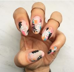 Flowers do not always open, but the beautiful Floral nail art is available all year round. Choose your favorite Best Floral Nail art Designs 2018 here! We offer Best Floral Nail art Designs 2018 .If you're a Floral Nail art Design lover , join us now ! Cute Nail Art, Cute Nails, Pretty Nails, Nail Lacquer, Nail Polish, Nail Nail, Tropical Nail Designs, Tropical Nail Art, Floral Nail Art