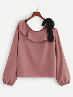 Shop Plus Knot Ruffle Blouse online Australia,SHEIN offers huge selection of Plus Size Blouses more to fit your fashionable needs. Plus Size Blouses, Plus Size Tops, Plus Size Women, Blouse Dress, Ruffle Blouse, Tunic Dresses, Denim Blouse, Blouse Online, Up Girl