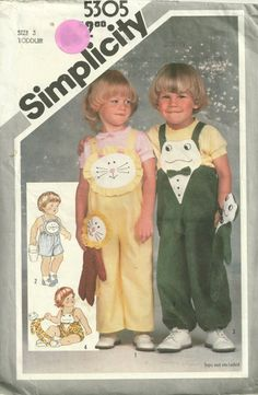 Simplicity 5305 1980s Toddlers Bib Overalls  Pattern and Toy Lion and Frog vintage sewing pattern by mbchills