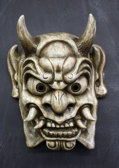 Dämon Maske japanische Oni (antik weißem Finish)