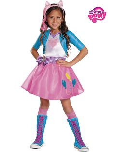 Be sassy this Halloween! Girls Pinkie Pie Equestria Deluxe Costume. Step into the shoes of her magical pony.