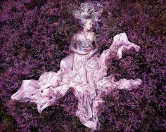 purple dress fashion woman style total look flower summer beauty