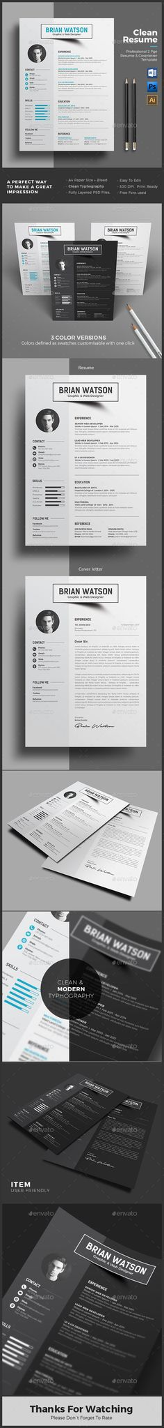 Resume Template PSD, AI Illustrator, MS Word. Download here: https://graphicriver.net/item/resume/17149731?ref=ksioks