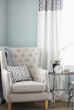 Wall color is Benjamin Moore Smoke. Beautiful bedroom revamp from A Thoughtful Place.