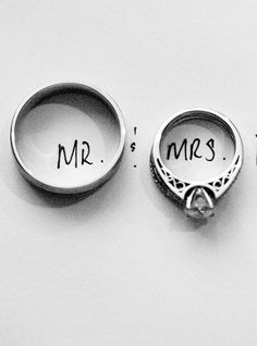 A cute Mr. and Mrs. wedding ring photo idea :-)