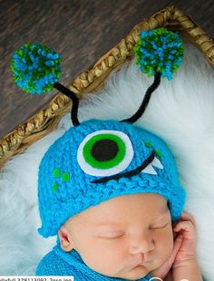 Baby blue monster hat
