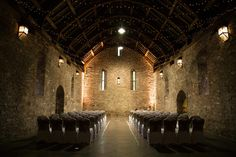 Torre Abbey wedding venue in Torquay, Devon, named, The Spanish Barn. Lit up ready for the wedding ceremony Barn Wedding Venue, Wedding Ceremony, Gate House, Exeter, Grand Hotel, Beautiful Day, Torquay Devon, Wedding Photography, Spanish