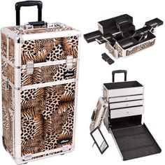 Sunrise Outdoor Travel Leopard Trolley Makeup Case - I3663. Bottom Case Specification: Wider opening top compartment for easy access. Removable mirror under the case lid. Retractable/telescoping handle for extra durability with inline skate wheels for easy rolling. Three aluminum finished drawers. Beautiful new leopard printing texture with silver aluminum trimming. Heat resistant exterior material keeps the case cool and protects your cosmetics. Heavy duty handle for added comfort and…