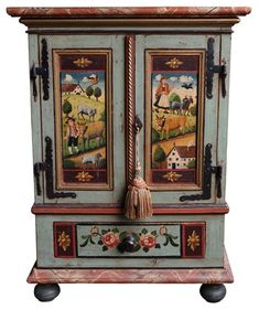 View this item and discover similar for sale at - New construction from reclaimed wood found in Austria. Art Furniture, Hand Painted Furniture, Funky Furniture, Furniture Projects, Antique Furniture, Furniture Storage, Miniature Furniture, Dollhouse Furniture, Tole Painting