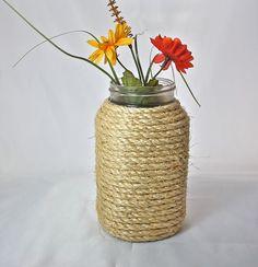 Rope Wrapped Mason Jar, white sisal, quart sized jar, use as vase, centerpiece, rustic or nautical wedding decor