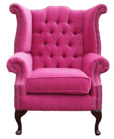 Velvet Wingback Armchairs are so glamourous! I love the bright pink that can create a talking piece in a room. It's unusual but it would suit almost any powder or lounge room.