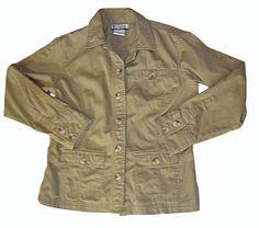 COLUMBIA Jean Jacket Coat Shirt Button Front Khaki Beige Cotton Pockets Sz: S #Columbia #BasicJacket