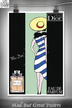 René Gruau inspired, Miss Dior, original poster, vintage, wall art, home decor, gift, fashion print, vogue, fine art, illustration, tspencer by MadButGreatPosters on Etsy