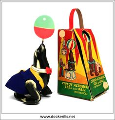 Circus-Acrobatic Seal & Ball, T.P.S. / TOPLY, Japan. Vintage Tin Litho Tin Plate Toy. Wind-Up / Clockwork Mechanism. Photo in DOCKERILLS - TIN TOY REFERENCE - JAPAN - Google Photos