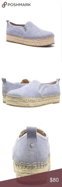 NIB Sam Edelman Carrin Platform Espadrilles size 8 Brand new in box, never worn, no flaws. Sam Edelman women's Carrin platform espadrilles slip on sneaker. Dusty blue suede color. Size 8. Adorable and trendy light blue slip-ons. Sam Edelman Shoes Espadrilles